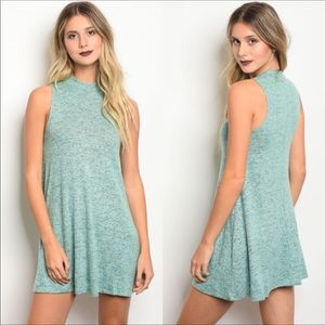 🆑New Dusty Mint sleeveless Flared Dress
